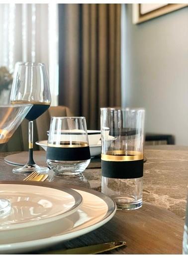 The Mia Glow Rakı Kadehi 6 Lı Set- Siyah & Gold Siyah